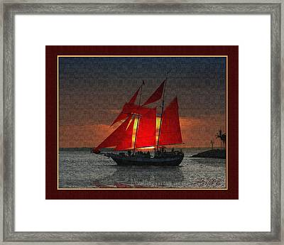 red sails at sunset in Key West Framed Print by John D Breen