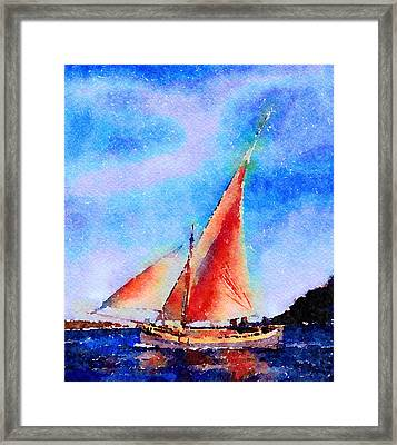 Framed Print featuring the painting Red Sails Delight by Angela Treat Lyon
