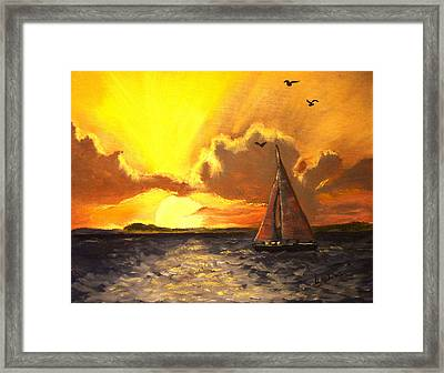 Red Sails In The Sunset Framed Print by Bobbie Roberts