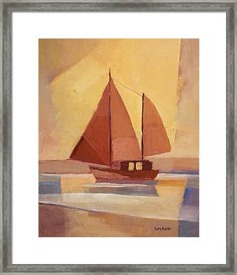 Red Sails In The Sunset Framed Print by Lutz Baar