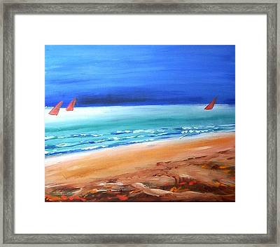 Framed Print featuring the painting Red Sails by Winsome Gunning