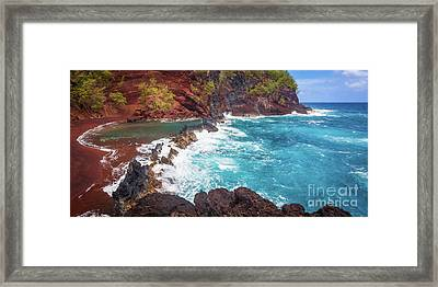 Red Sand Beach Panorama Framed Print by Inge Johnsson