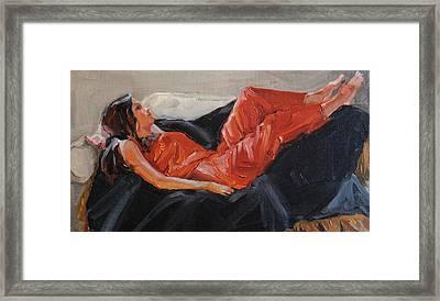 Red Satin Jammies Framed Print by Roseann Munger