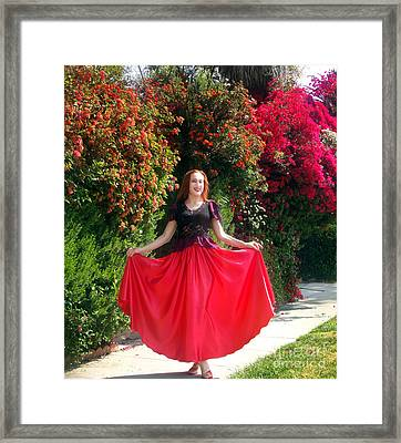 Red Satin Maxi Skirt. Ameynra Style - By Sofia Framed Print by Sofia Metal Queen
