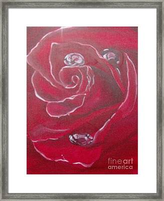 Framed Print featuring the painting Red by Saundra Johnson