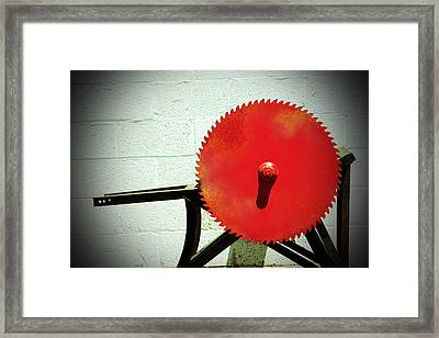 Red Saw Blade Framed Print by Cynthia Guinn