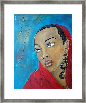 Red Scarf Framed Print by Jenny Pickens