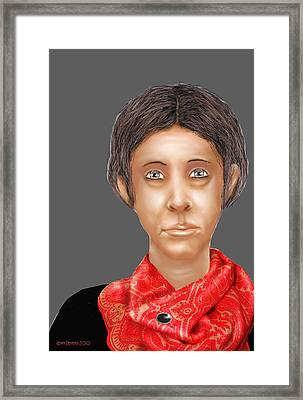 Framed Print featuring the digital art Red Scarf by Kerry Beverly