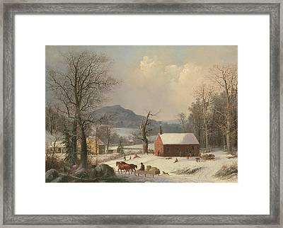Red School House  Framed Print by George Henry Durrie