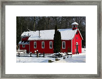 Red Schoolhouse At Christmas Framed Print