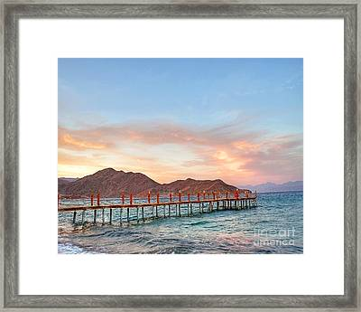 Red Sea Sunset Over Harbour Framed Print by Chris Smith