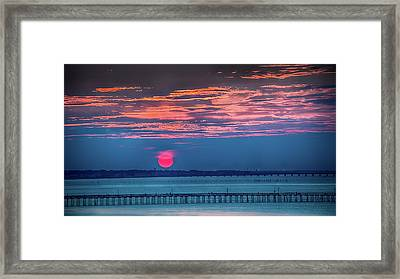 Red Setting-sun Over The Lynnhaven Fishing Pier Framed Print by Robert Anastasi