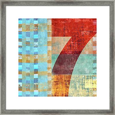 Red Seven And Stripes Mixed Media Framed Print