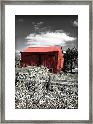 Red Shack Landscape Framed Print by Joan  Minchak