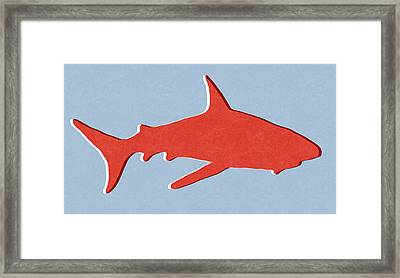 Red Shark Framed Print by Linda Woods