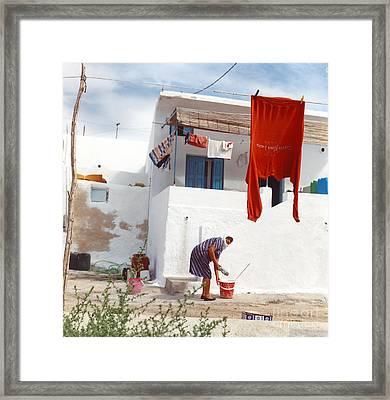 Red Shirt Framed Print by Andrea Simon