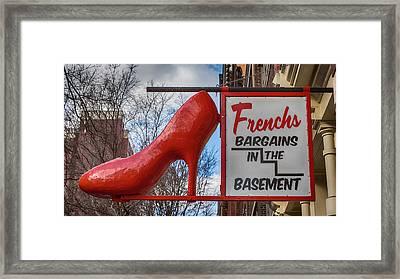 Red Shoe Bargains Framed Print by Stephen Stookey