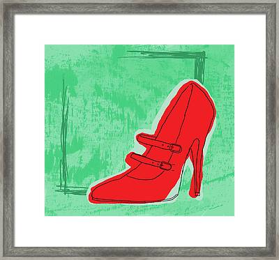 Red Shoe Framed Print by Darren Leighton