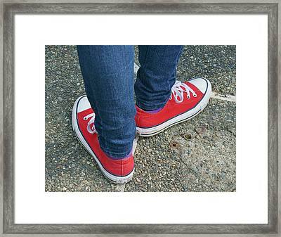 Red Shoes Waiting Framed Print