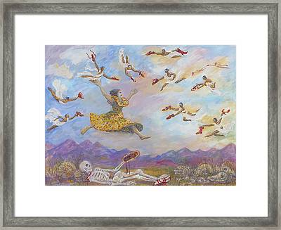 Red Shoes With Messengers Framed Print by Shoshanah Dubiner