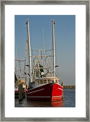 Red Shrimp Boat Framed Print by Christopher Holmes
