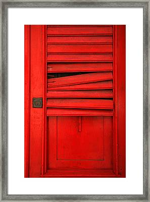 Red Shutter Framed Print by Timothy Johnson