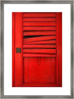 Red Shutter Framed Print by Timothy Johnson