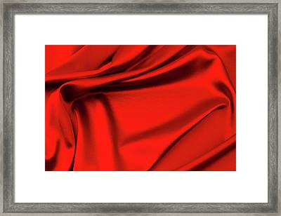 Red Silk Fabric Framed Print by Les Cunliffe