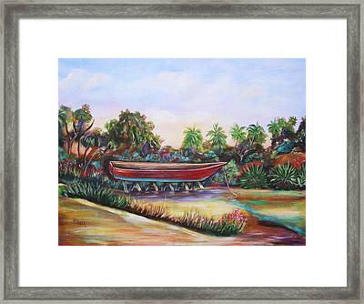 Red Skiff Framed Print