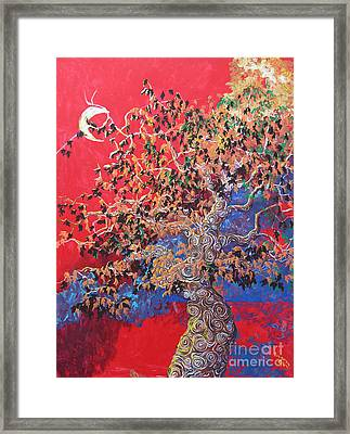 Red Sky And Tree Framed Print