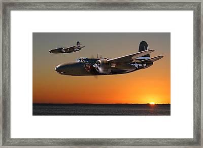 Red Sky At Morning - Usaaf 312bg Version Framed Print by Mark Donoghue