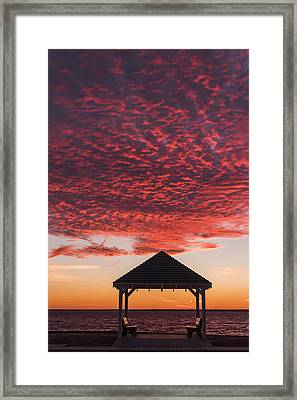 Red Sky At Night Gazebo Seaside New Jersey Framed Print by Terry DeLuco