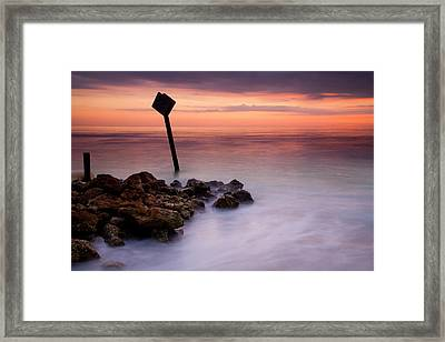 Red Sky Caution Framed Print by Mike  Dawson