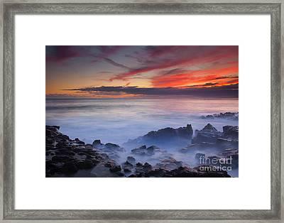 Red Sky Kauai Framed Print by Mike Dawson