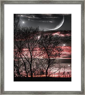 Red Sky Moon Framed Print by Marianna Mills