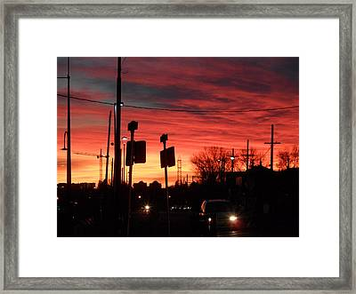 Red Sky Morning Framed Print