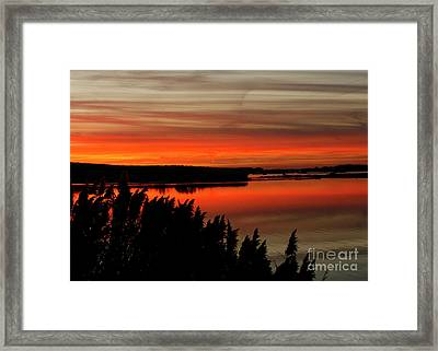 Red Sky On The Illinois River Framed Print