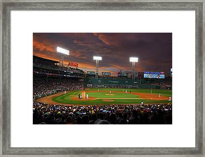 Red Sky Over Fenway Park Framed Print