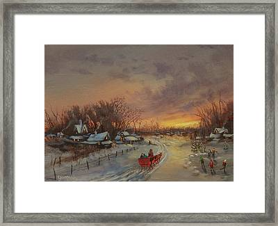 Red Sleigh Framed Print