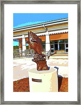 Red Snapper Statue On A Sunny Day Framed Print