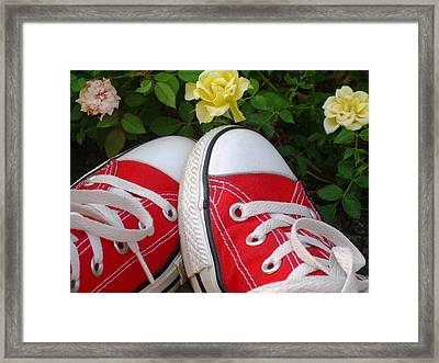 Red Sneakers Framed Print by Torie Beck