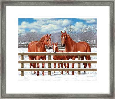Red Sorrel Quarter Horses In Snow Framed Print