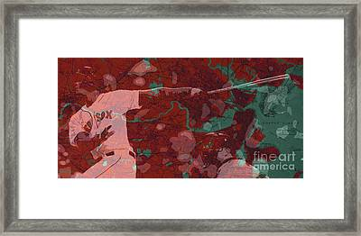 Red Sox Baseball Player On Boston Harbor Map Framed Print by Pablo Franchi