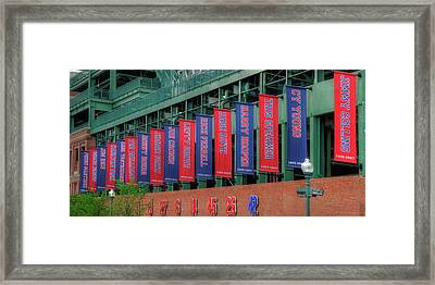 Red Sox Hall Of Fame Banners - Fenway Park Framed Print by Joann Vitali