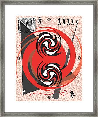 Red Spirals Framed Print by Christine Perry