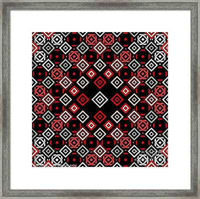 Red Squared Framed Print