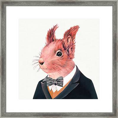 Red Squirrel Square Framed Print by Animal Crew