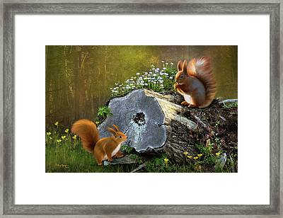 Framed Print featuring the digital art Red Squirrels by Thanh Thuy Nguyen