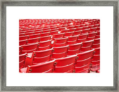 Red Stadium Seats Framed Print by Paul Velgos