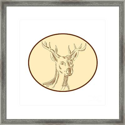 Red Stag Deer Head Circle Etching Framed Print by Aloysius Patrimonio